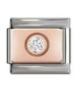 Jewelled Rose gold base -Charm-Fits Nomination- NEW in Gift Pouch -RG100