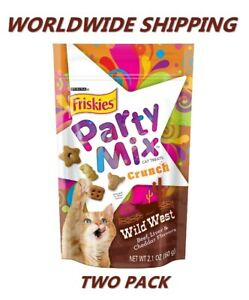 Friskies Party Mix Crunch Wild West Beef Cat Treats 2.1 Oz TWO PACK WORLD SHIP