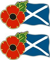 2 POPPY DAY CAR STICKERS WITH SCOTLAND FLAG - Saltire for cars, tablets, laptops