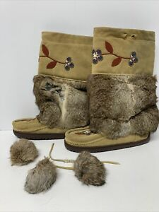 Manitobah Mukluks Brown Rabbit Fur Suede Leather Winter Boots WM8/EU38-as Is