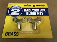 PACK OF 2 RADIATOR AIR BLEED KEY BRASS Vent Air Lock Key Plumbers Valve Key