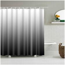 Shower Curtain Decor Ombre Colorful Design Black Gray Bath Curtains + 12 Hooks