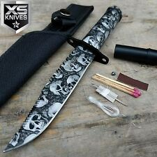 """8"""" Skull Print Tactical Zombie Hunting Fixed Blade Survival Knife W/Survival Kit"""