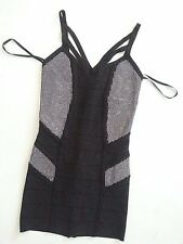 NWT bebe silver stud embellished straps zipper bandage club sexy top dress XS