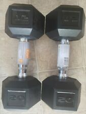 2 CAP 20 LB New Rubber Hex Dumbbell Weights Set Of 2 Dumbbells Home Weights