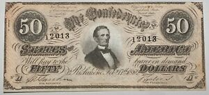 1864 $50 Confederate Currency