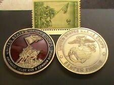 IWO JIMA~U.S.Marine Corps~Semper Fidelis~Challenge Coin~Silver Dollar Size &