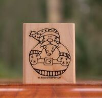 """Round Santa Claus Wood Mounted Rubber Stamp 2003 by Stampin' Up! 2"""" x 1 3/4"""""""