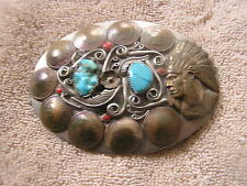Vintage Belt Buckle Turquoise Ornate