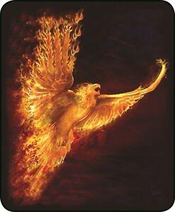 Queen Mythical Rising Phoenix Flaming Fire Bird Faux Fur Fleece Blanket Plush