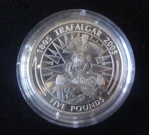 2005 SILVER PROOF GIBRALTAR £5 COIN BATTLE OF TRAFALGAR LORD HORATIO NELSON