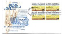 1506 Rural America  Kansas Winter Wheat + Train Fleetwood block of 4 FDC