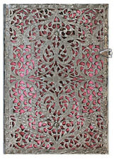 """Paperblanks Journal Silver Filigree """"Blush Pink"""" LINED Midi 5x7 Book Writing New"""