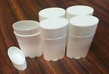 5 ct. Empty Clear Plastic Deodorant Containers - 2.5 Oz Classic Style Oval WHITE