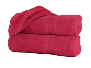 """Pack of 2 Luxury Large Bath Towels 100% Cotton 27""""x55"""" 550 GSM Highly Absorbent"""