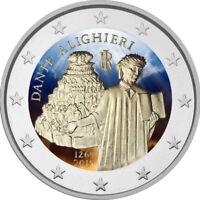 2 Euro Gedenkmünze Italien 2015 coloriert mit Farbe /  Farbmünze Dante
