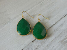 ANTHROPOLOGIE EARRINGS GREEN TEAR DROP DANGLE HOOK GOLD TONE RIM SOLD OUT