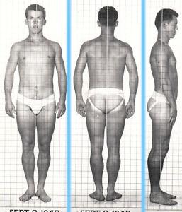 STOCKY SHORT LEGS ~1940s 5x7 NAVY ID PHOTO NEAR NUDE JOCK SAILOR MAN gay #201