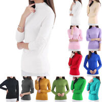 Womens Turtle Neck Long Sleeve Solid Basic T-Shirt Jumper Slim Fit Tops Pullover