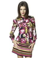 Missoni For Target Rose Flower Mod Geometric Print Button Down Blouse Size Small