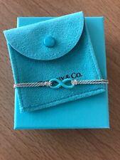 """Tiffany & Co Blue Enamel Infinity Bracelet Sterling Silver 6"""" Small"""