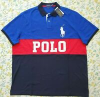New Big & Tall Mens Polo Ralph Lauren Big Pony Colorblock Polo Shirt Blue/Multi