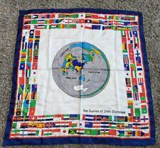 "Vintage The Games Of 24th Olympiad 1988 Seoul Korea Banner Flag Cloth 34"" x 34"""