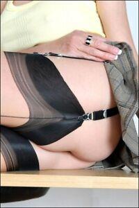 Echte Fully Fashiond FF Nahtnylons Nylonstrümpfe - Haut schwarz - 15den - Gr.11