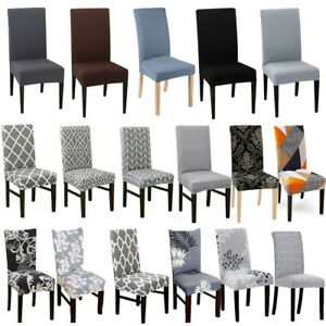 1/4/6 Dining Chair Seat Covers Slip Stretch Wedding Banquet Party Removable UK