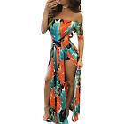 Boho Floral Women's Split Sleeveless Long Maxi Dress Party Summer Beach Sundress