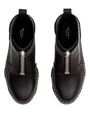 Rag & Bone Women's Shiloh Black Leather Zip Combat Boots