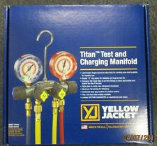 """YELLOW JACKET TITAN 4V R22/404A/410A MANIFOLD W/ 60"""" PLUS II RYB+V HOSES 49967"""