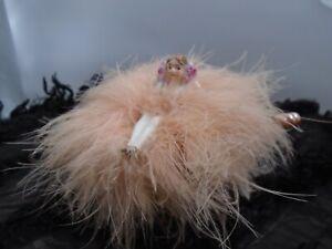 Precious Tiny Half Doll W/Legs Pin Cushion Set On Antique Silk Darning Tin Box