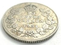 1931 Canada 10 Ten Cent Silver Dime Canadian Circulated George V Coin L546