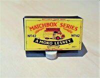 LESNEY MATCHBOX NO.42A EVENING NEWS VAN, (57mm) REPLACEMENT CUSTOM BOX ONLY