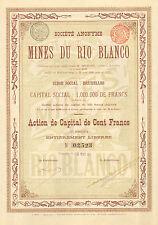 SA des Mines du Rio Blanco, accion, Bruxelles, 1901 (Argentinia)