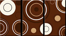 LARGE CIRCLES CANVAS ART PICTURE BROWN CREAM 3 PANEL A1