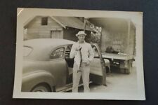 Vintage Photo Fishing Man w/ Big Fish 1940s Chevrolet Car Free Shipping 882