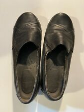 Hush Puppies Black Leather Comfort Slip-on Ladies Shoes Size 9W