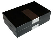 Luxury wooden watch box display case black executive series for large watches