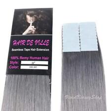 "20pcs 22"" Remy Seamless Tape Skin Weft Human Hair Extensions Silver Dark Gray"