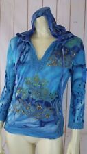 Forbidden Top S Blue Tie Dye Cotton Knit Pullover Beads Sequins Lace Hoodie