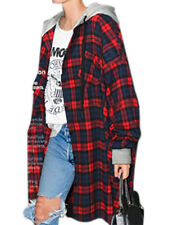 Women's Long Sleeve Mid long Hooded Coat Plaid Hoodie Oversized Jacket Outwear