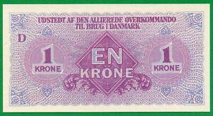 DENMARK 1 KRONE , 1945 , P.M2 , UNC !