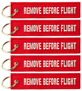 REMOVE BEFORE FLIGHT ™ Keyring Keychain 5x