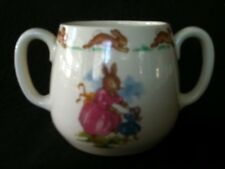 VINTAGE BUNNYKINS DOUBLE HANDLED DON MUG DEPICTS MUMS w PRAMS / DANCING w DOLLY