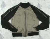 EUC KAREN MILLEN Taupe and black Silk and Lace bomber zip front jacket US 10