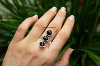 Solid 925 Sterling Silver Spinner Ring Black Onyx Stone Ring Handmade Any Size.3