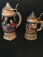 2~Ceramic Drink Mug Beer Musical Stein Old Vintage Rare...
