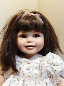 "(0373) Marie Osmond Doll Porcelain Toddler 24"" Baby Olive Marie Pink Floral"